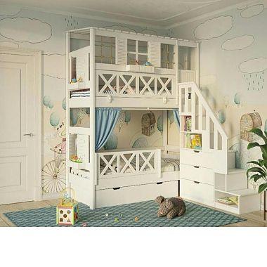 двухъярусная кровать домик из дерева нижний тагил